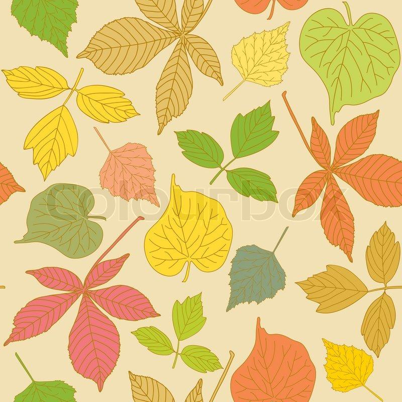 Grune Farbe In Blattern : Bunte nahtlose Muster mit Hand gezeichneten Blättern  Vektorgrafik