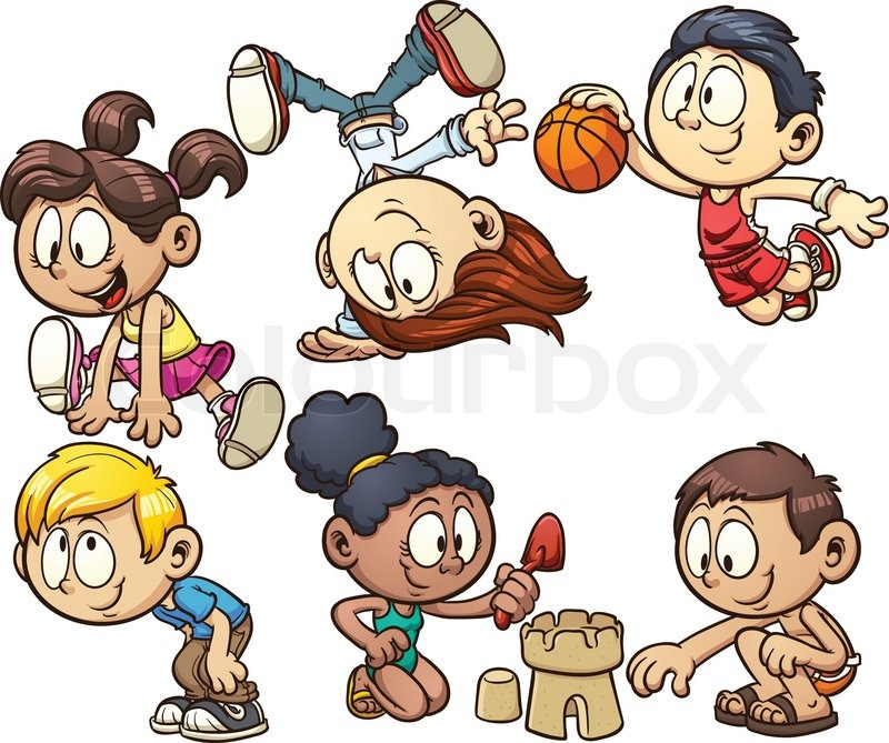 Cartoon kids playing. Vector clip art illustration with ...