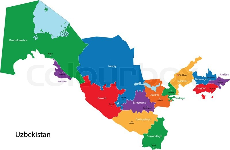 Usbekistan Karte.Usbekistan Karte Stock Vektor Colourbox