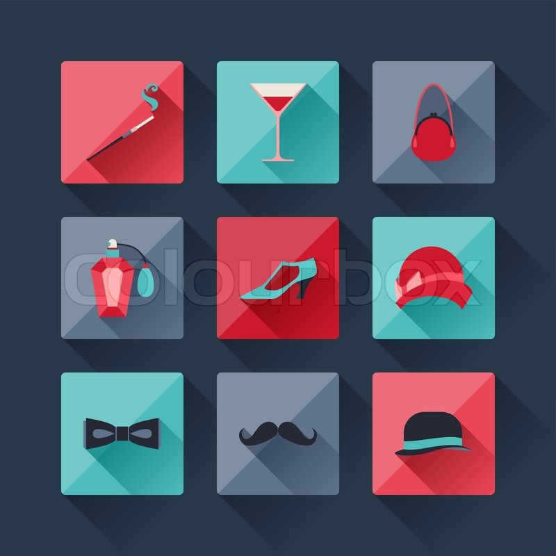 Set Of Retro Fashion Icons In Flat Design Style Stock Vector Colourbox