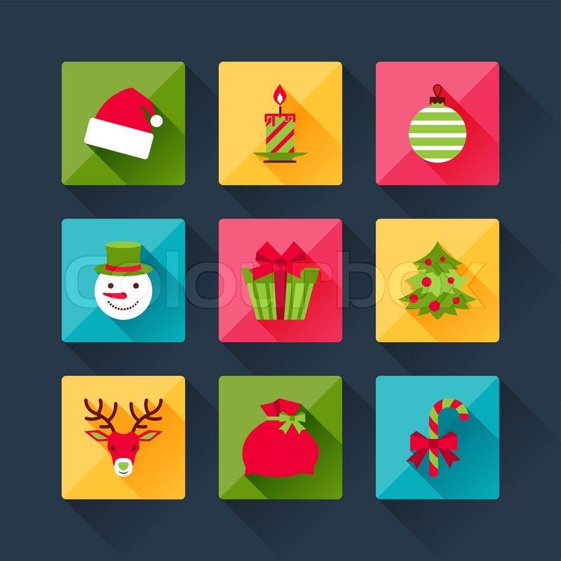 set von weihnachts icons in flache design stil. Black Bedroom Furniture Sets. Home Design Ideas