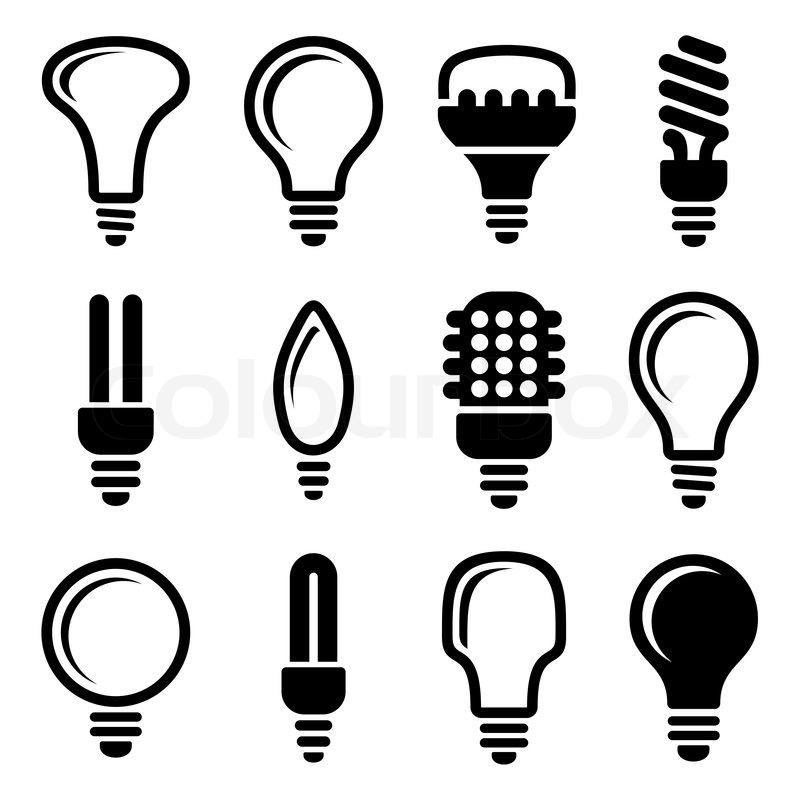 Glühbirnen Glühlampe icon set | Vektorgrafik | Colourbox
