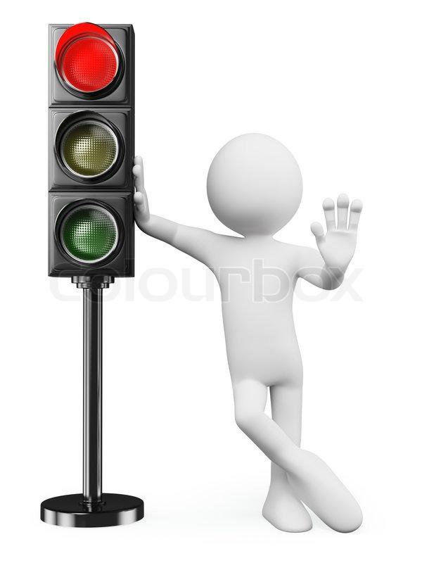 3D- weiße Menschen Rote Ampel   Stockfoto   Colourbox