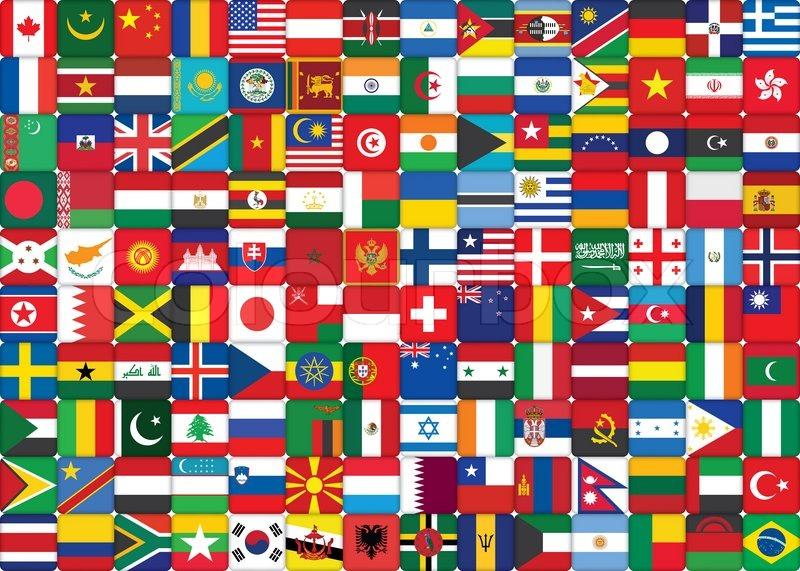 Baggrund lavet af verdens flag ikoner | stock foto | Colourbox