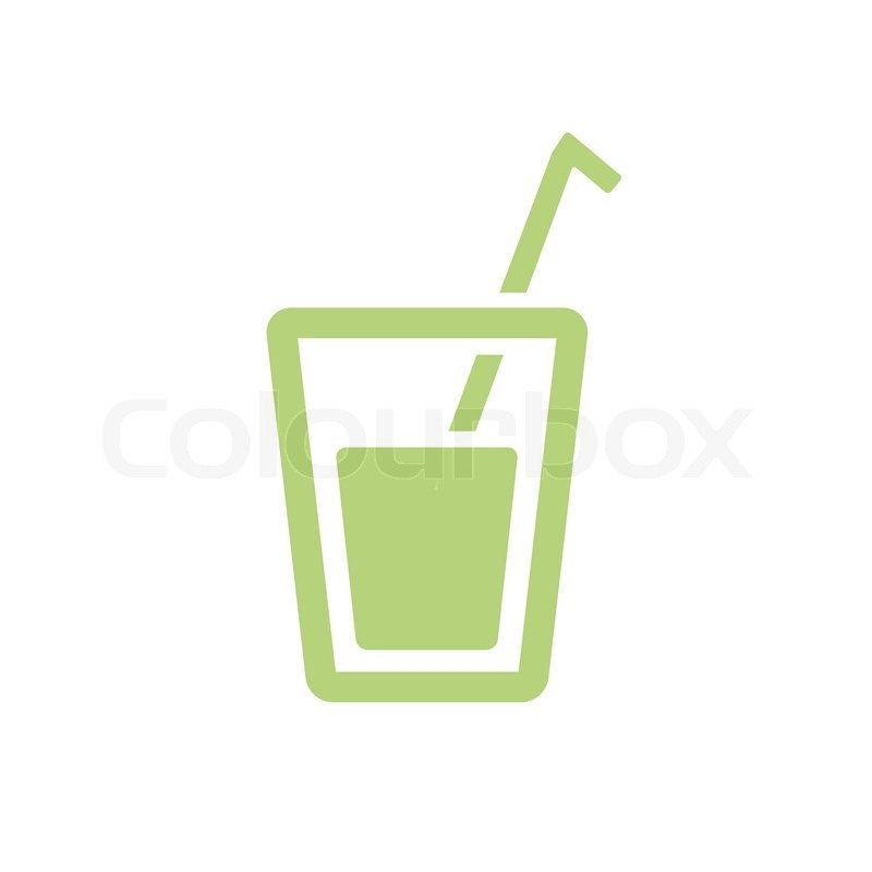 Simple vector pictogram icon of a glass with straw | Stock ...