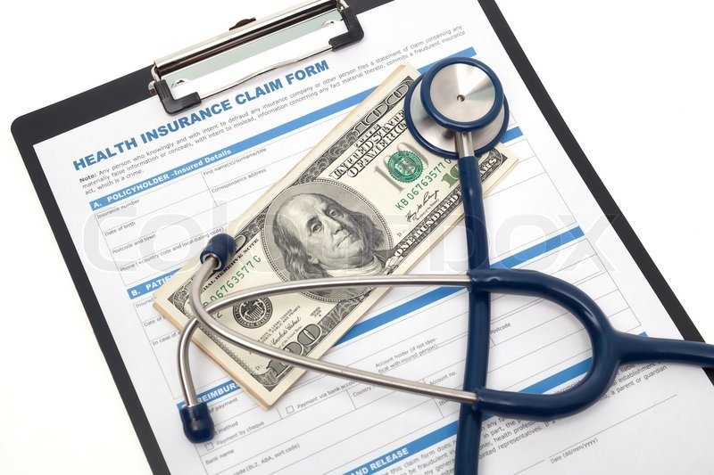 Medical and health insurance claim form with stethoscope on clipboard isolated, stock photo