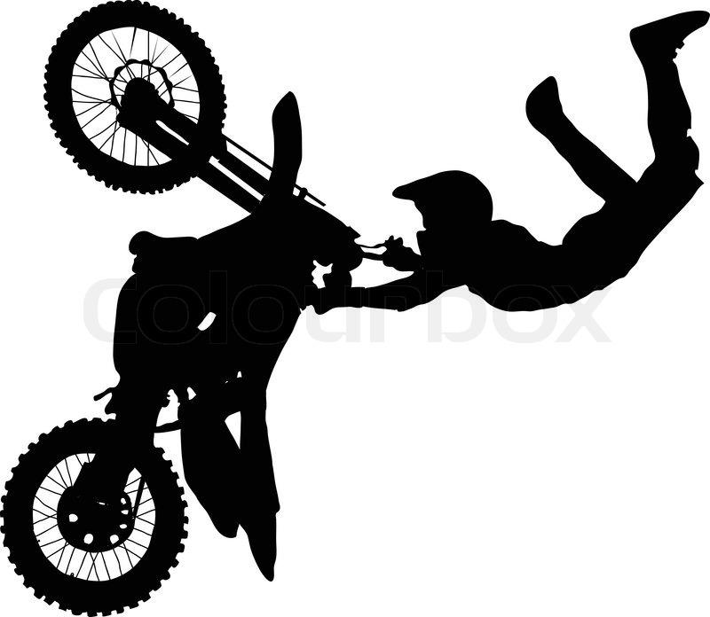 Silhouette Von Motorrad Fahrer Der Durchf 252 Hrung Trick