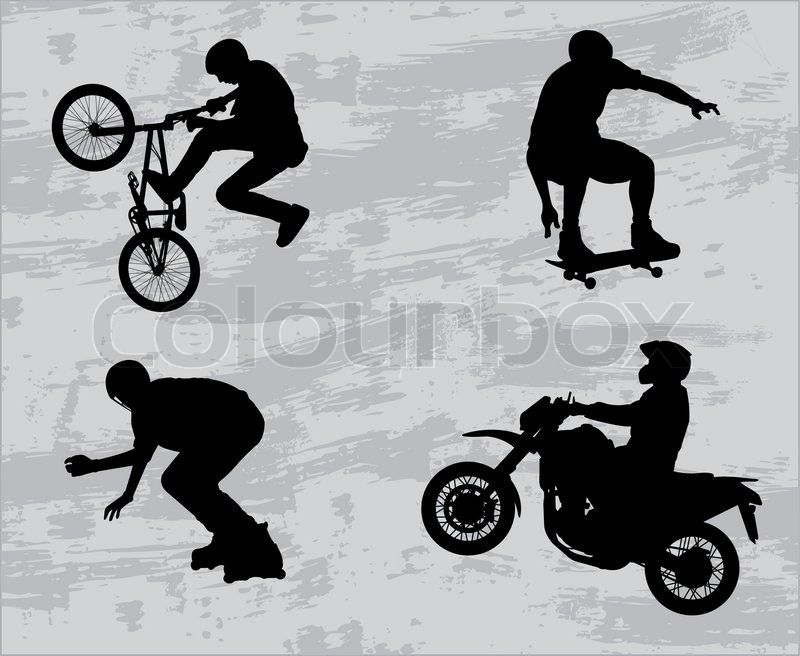 Extreme sport silhouettes - vector, vector