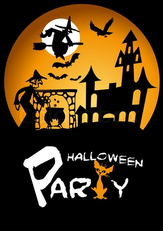 stock image of halloween party graphic with scared cat flying witch and bats