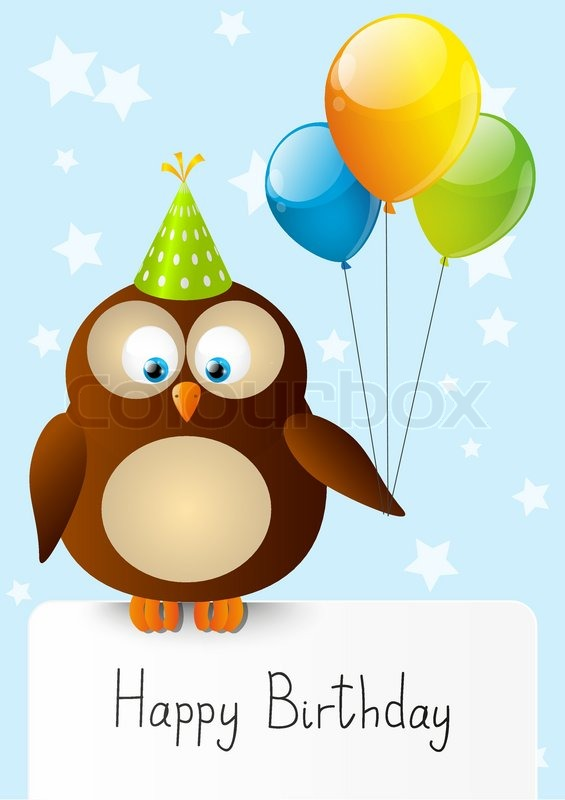 vector happy birthday party card with cute owl  stock vector, Birthday card