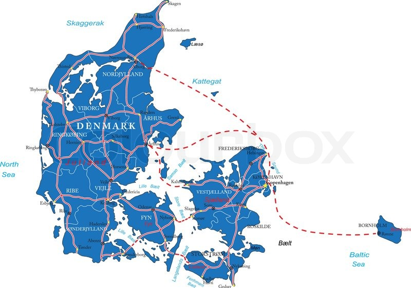 Highly detailed vector map of Denmark with administrative regions