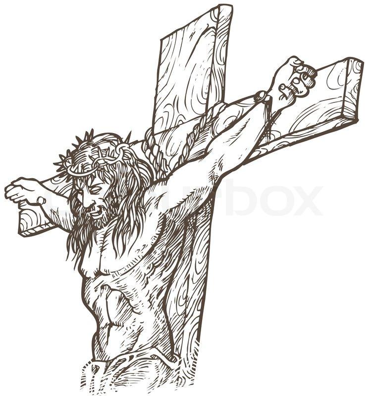 Jesus Hand Draw Stock Vector Colourbox