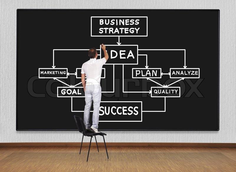 Mann Auf Stuhl Stehen Und Business Plan Stock Bild Colourbox