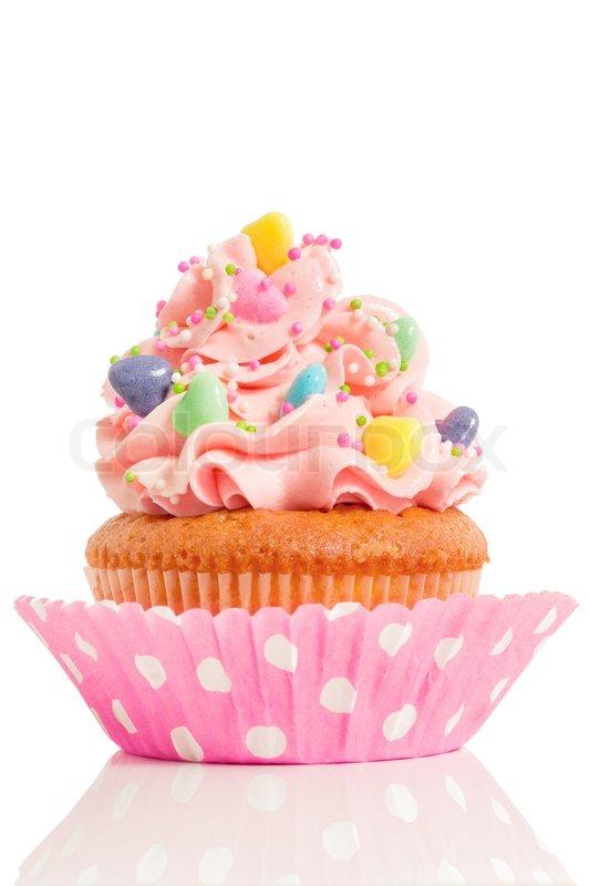 Pink Cupcake On White Background Stock Photo Colourbox