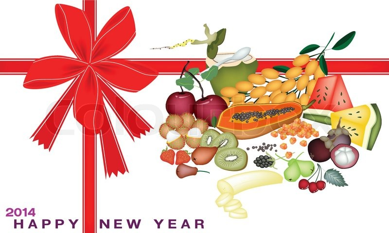 New Year Gift Card With Health And Nutrition Fruit Stock Vector