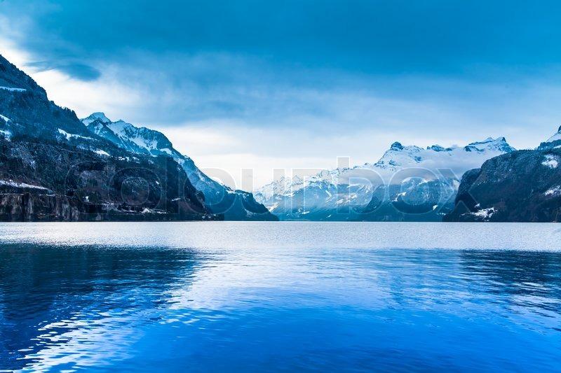 Winter landscape. winter mountains landscape. Beautiful winter, stock photo