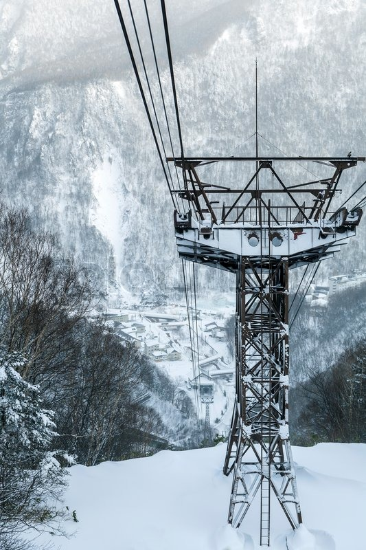 Cable way tower for ropeway, Hokkaido, Japan, stock photo