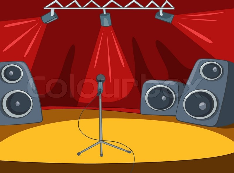 Rock&Roll Stage Cartoon | Stock Vector