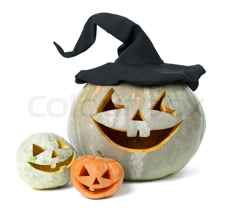 Holiday carved pumpkin halloween on white, stock photo