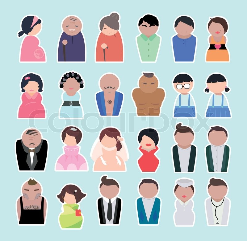 People of different ages. People in the working age and older people and the children, vector