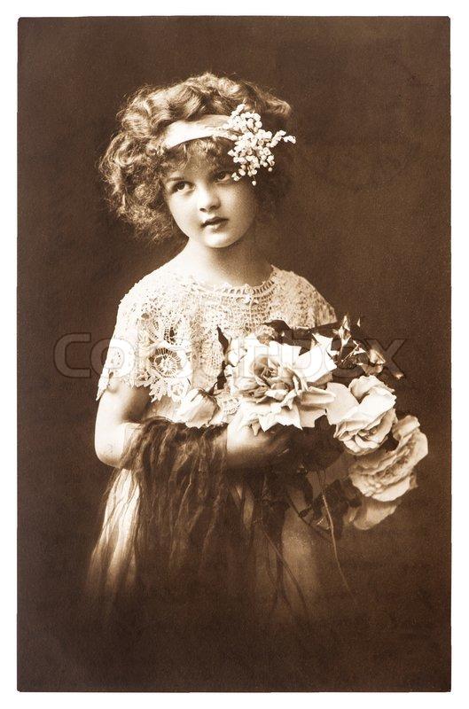 Jahrgang nostalgische portr t des kleinen m dchens - Vintage bilder kostenlos ...