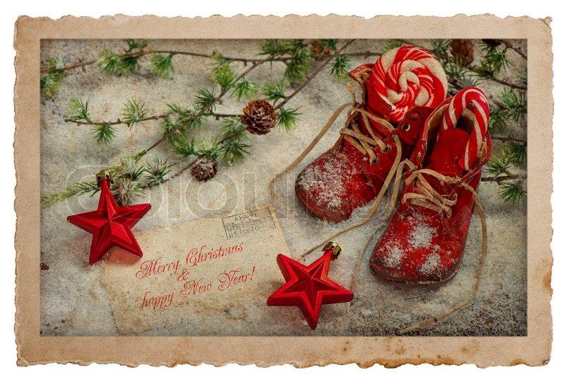 vintage stil weihnachten postkarte retro stock bild. Black Bedroom Furniture Sets. Home Design Ideas