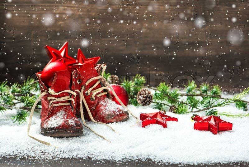 Vintage christmas decoration red balls stars and antique for Weihnachtsdeko bilder gratis