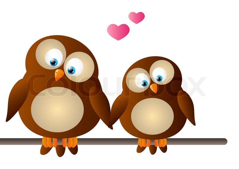 Royalty Free Stock Photos And Images Cute Owls Couple With Love Heart ...
