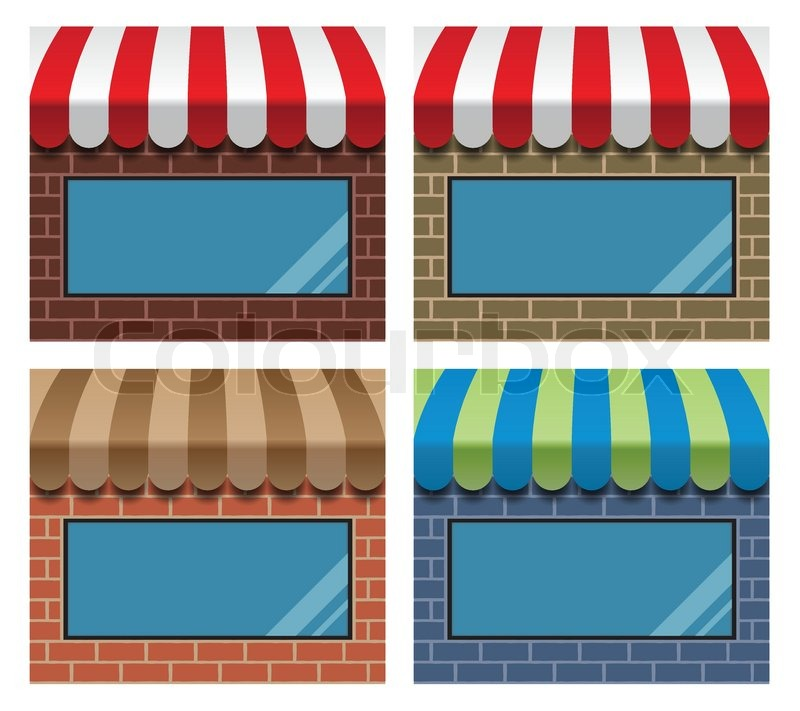 Storefront With Awning Stock Vector Colourbox