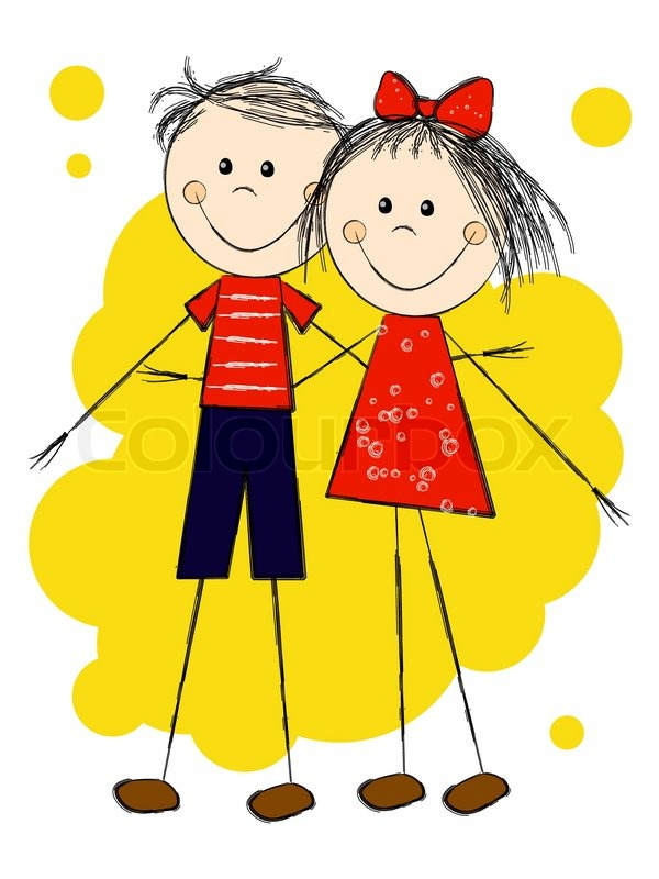 Рисунки дружба мальчик и девочка