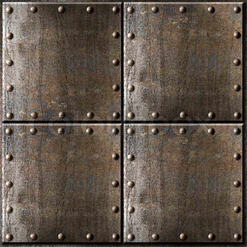 Rusty Metal Armour Background With Rivets Stock Photo