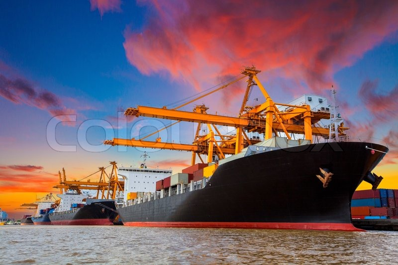 Shipping port in Thailand, stock photo
