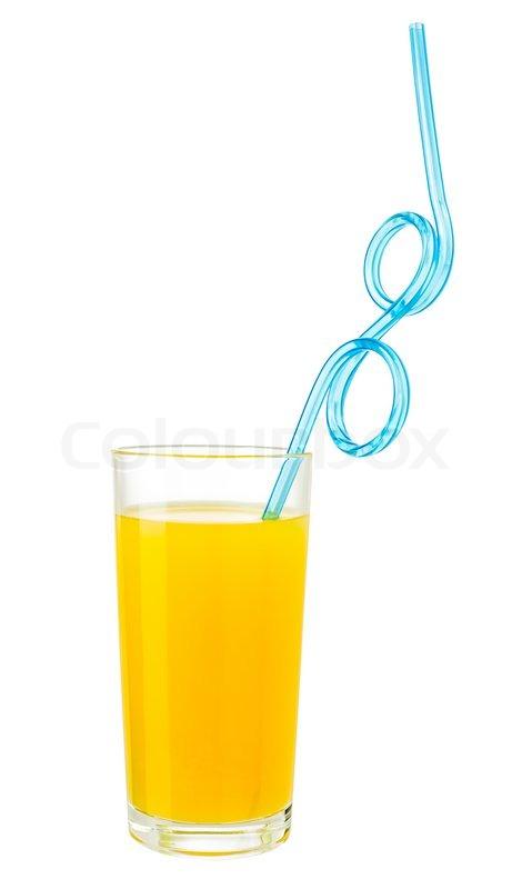 orangensaft mit strohhalm trinken in glas auf wei mit. Black Bedroom Furniture Sets. Home Design Ideas
