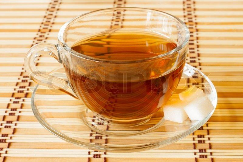 Tasse Tee Auf Bambus Tischdecke Stockfoto Colourbox