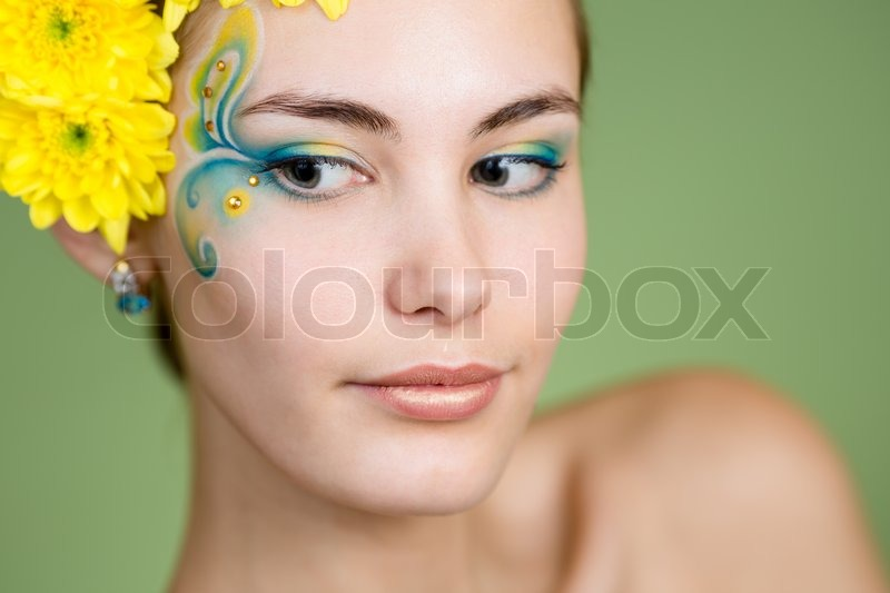Young Girl Model With Fantasy Makeup Stock Image