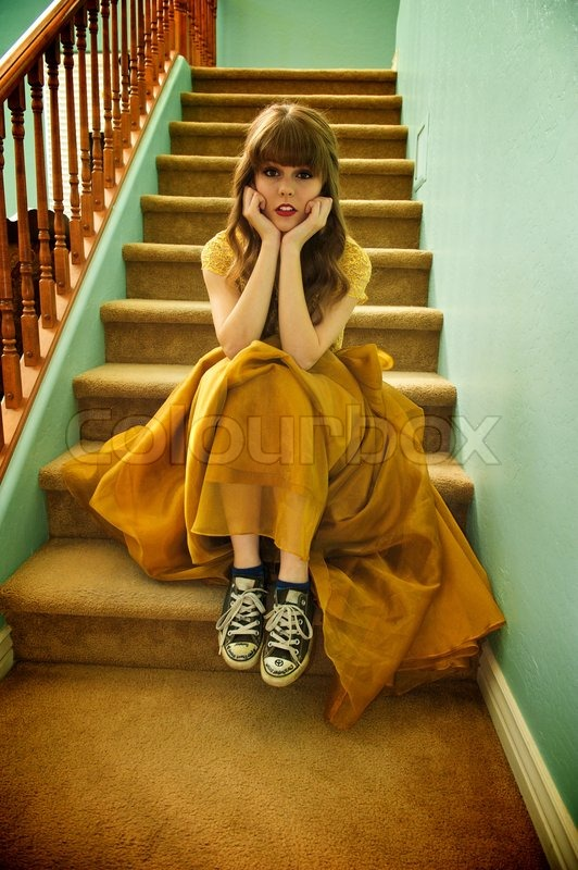 Teen Girl With Formal Prom Gown And Stock Photo Colourbox