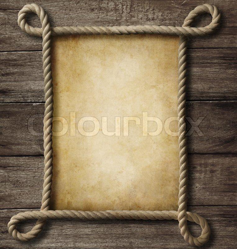Im Alter von Papier mit Seil -Rahmen auf alten Holz- Hintergrund ...