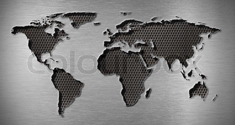 Metal Hole In World Map Shape Stock Photo Colourbox - World map shape