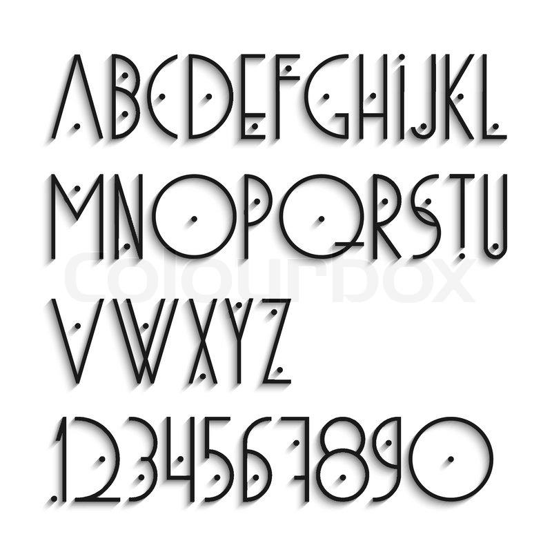 Elegant alfabetets bogstaver og tal med skygge stock for Mobel 9 buchstaben