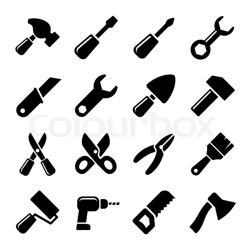 Box Wrench Clip Art Working tools icon set...