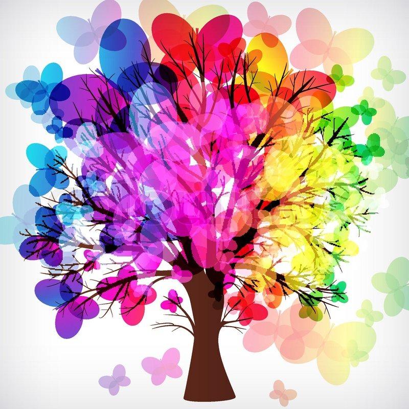 Abstrakt Baum Mit Asten Von Bunten Stock Vektor Colourbox