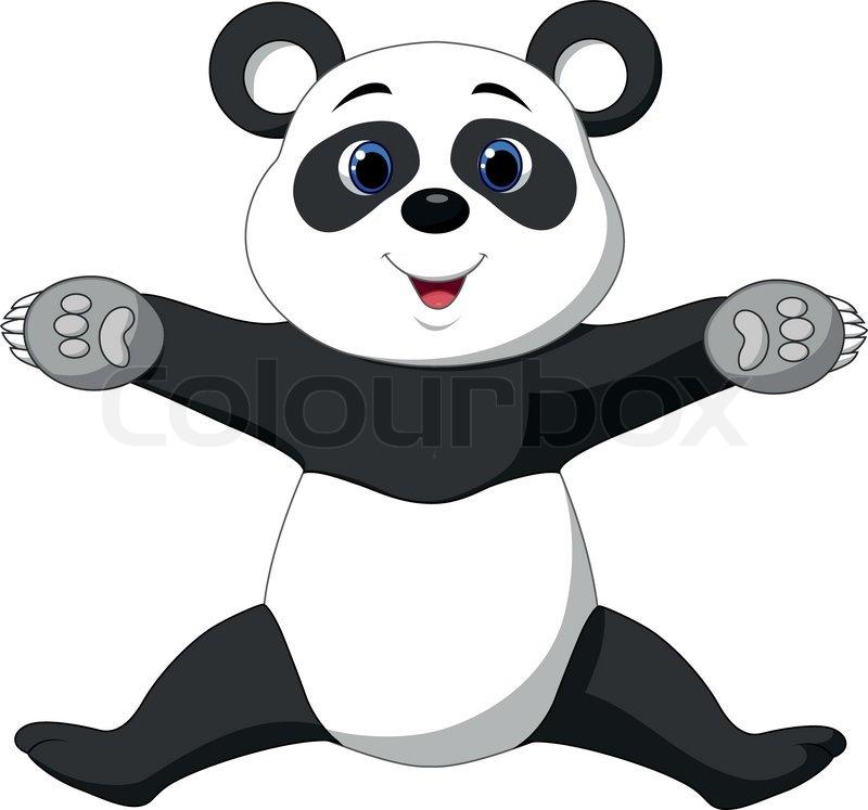 Happy Panda Cartoon Stock Vector Colourbox