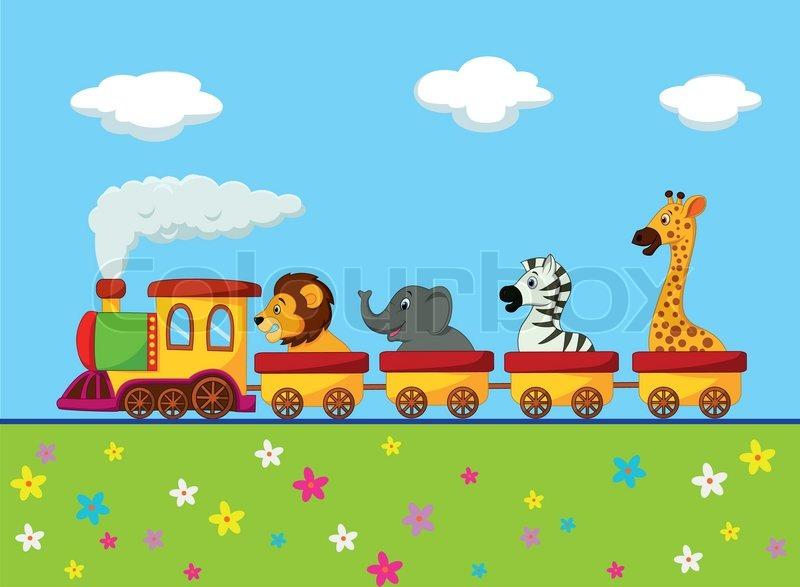 vector illustration of cartoon animal train stock vector colourbox