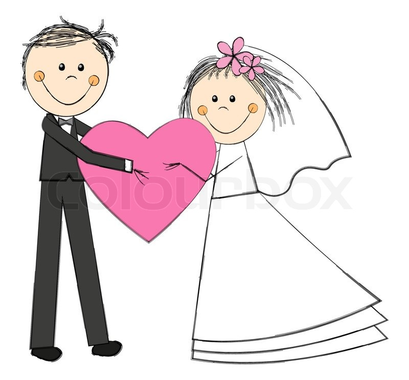 Wedding couple with pink heart | Stock vector | Colourbox