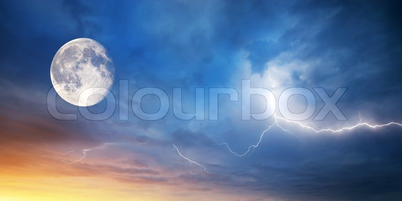 Moon and lightning on sunset.Composition of nature, stock photo