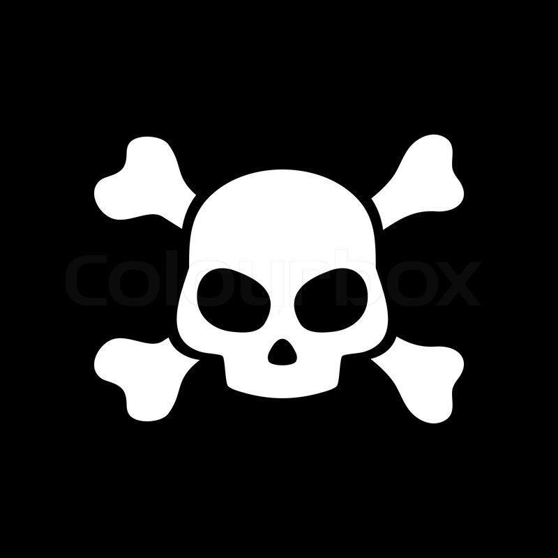 Toxic Symbol Black And White Vector skull on black ...