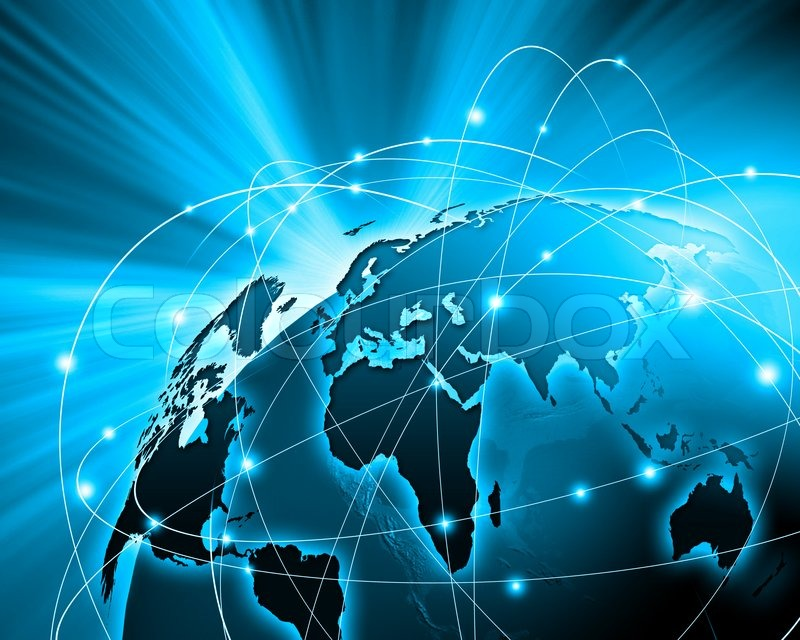 Blue vivid image of globe. Globalization concept, stock photo