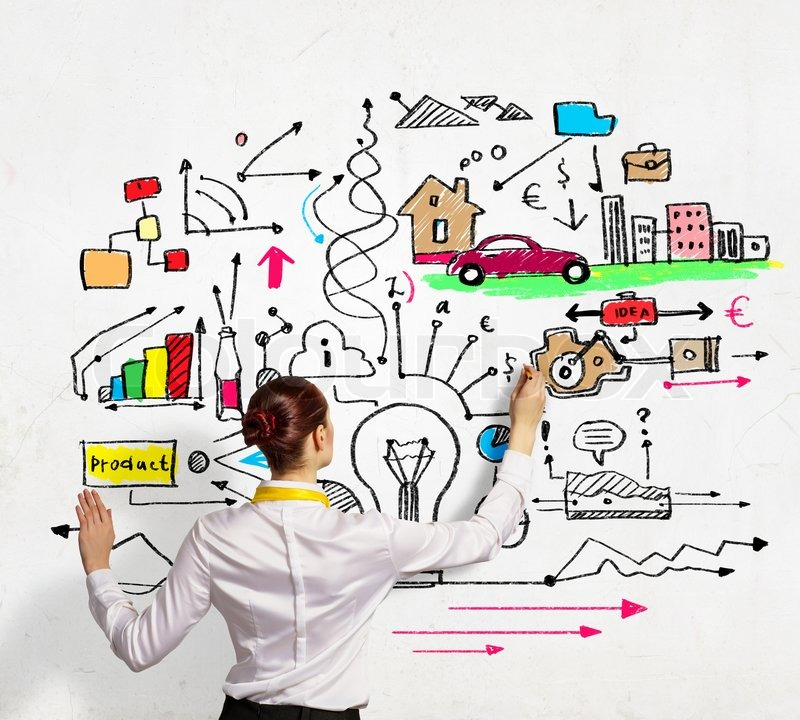 Businesswoman Drawing On Wall Stock Image Colourbox