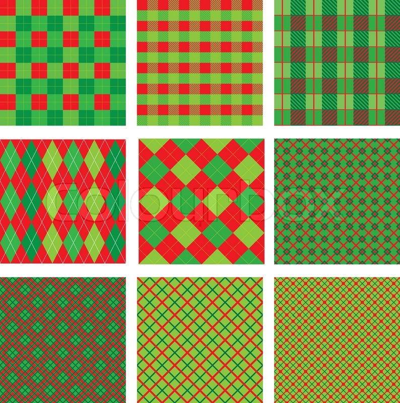 set of christmas and new year plaid seamless patterns in red and green colors stock vector colourbox - Why Are Red And Green Christmas Colors