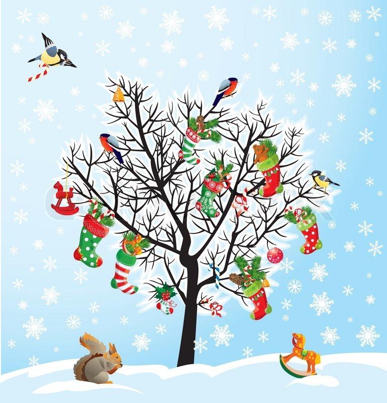 Winter- Baum mit Vögeln , Eichhörnchen , Weihnachten Schuhe ...